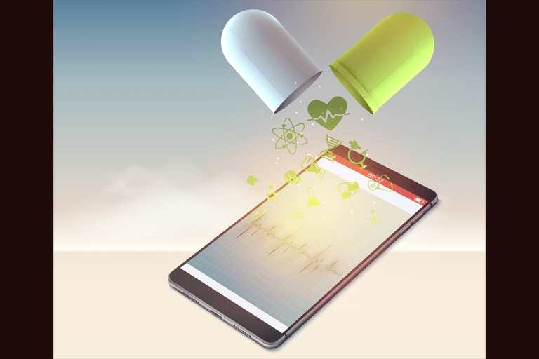 Pill tablet pouring medicine onto an electronic tablet