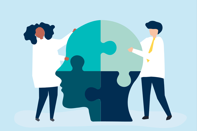 Illustration of two doctors putting together a puzzle shaped like a human head