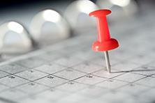 push pin in a calendar