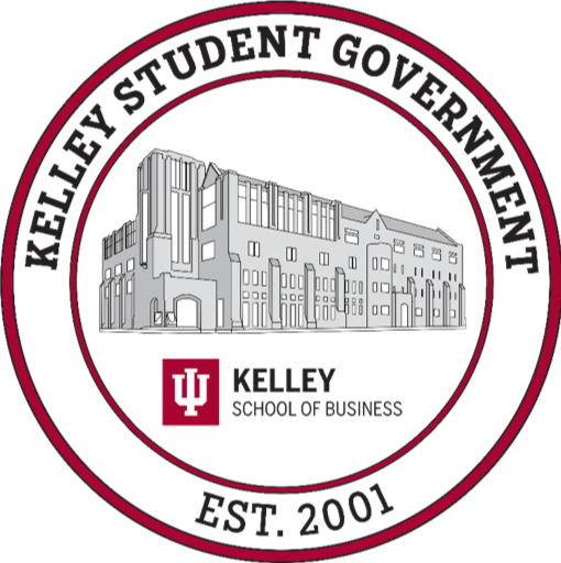 Graphic mark for the Kelley Student Government, with an outline of Hodge Hall in the center