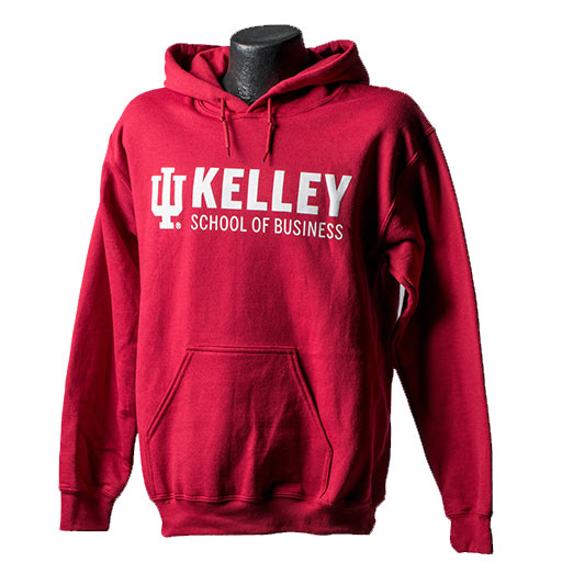 Red hooded sweatshirt with a white Kelley School of Business logo across the chest